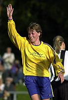 Brit Sandaune, Trondheims-Ørn, scoret lagets to første mål i tidenes første europacupkamp for et norsk kvinnelag. Trondheims-Ørn - KR Reykjavik 9-0. Stjørdal stadion. 20. september 2001. (Foto: Peter Tubaas/Digitalsport)