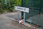 Road sign for Darwin Street, Highgate on 3rd August 2021 in Birmingham, United Kingdom.