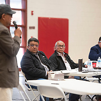 Members of the Navajo Nation Council, left to right, Council Delegate Edmund Yazzie, Council Delegate Daniel Tso and Speaker Seth Damon listen as Percy Anderson speaks during a public hearing on the impacts of uranium Friday, March 6 at Navajo Technical University in Crownpoint. There are two upcoming uranium public hearings, March 13 in Chinle and March 14 in Tuba City.