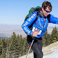 First-place male soloist Josiah Middaugh nears the end of the first skiing leg during the Mount Taylor Quadrathlon in Grants Saturday.