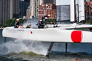 SailGP Team Japan helmed by nathan Outteridge round the top mark in race one.. Race Day 1 Event 3 Season 1 SailGP event in New York City, New York, United States. 21 June 2019. Photo: Chris Cameron for SailGP. Handout image supplied by SailGP