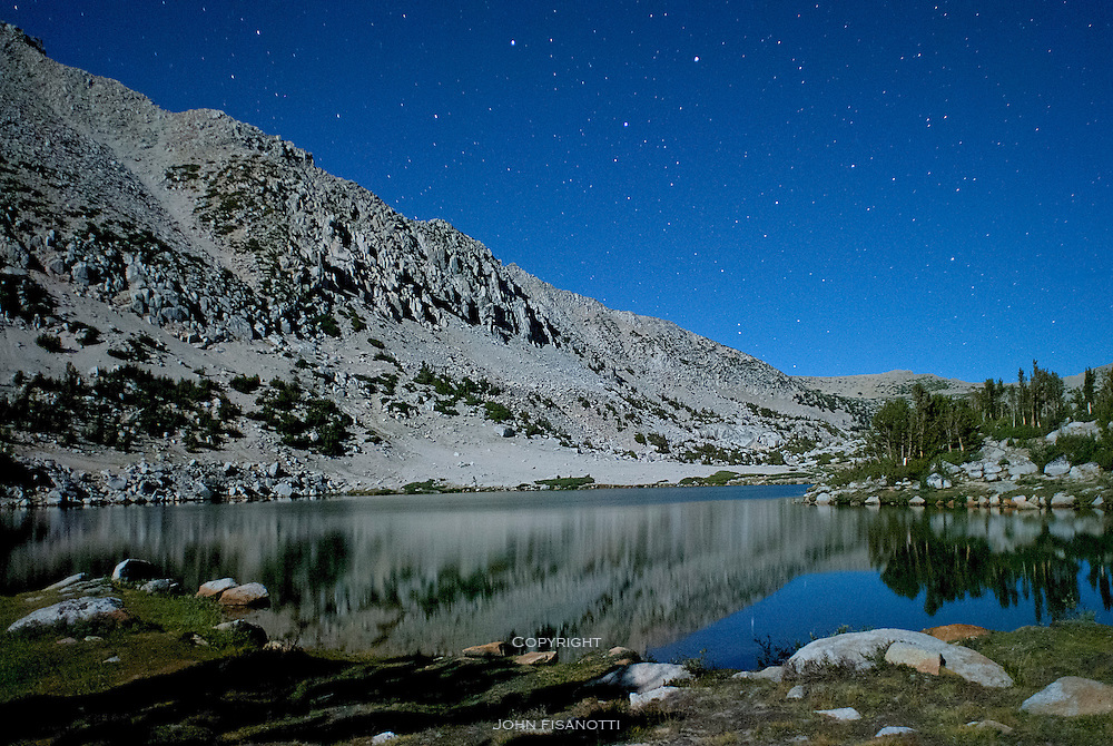 The Moon illuminates the Pioneer Basin in the Sierra Nevada range in California