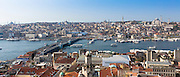 Skyline cityscape and the Blue Mosque, Golden Horn and Bosphorus River in Istanbul, Republic of Turkey