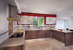 8117_Plum_Creek kitchen by Porcelanosa with modern gloss red cabinets and bamboo grain cabinets