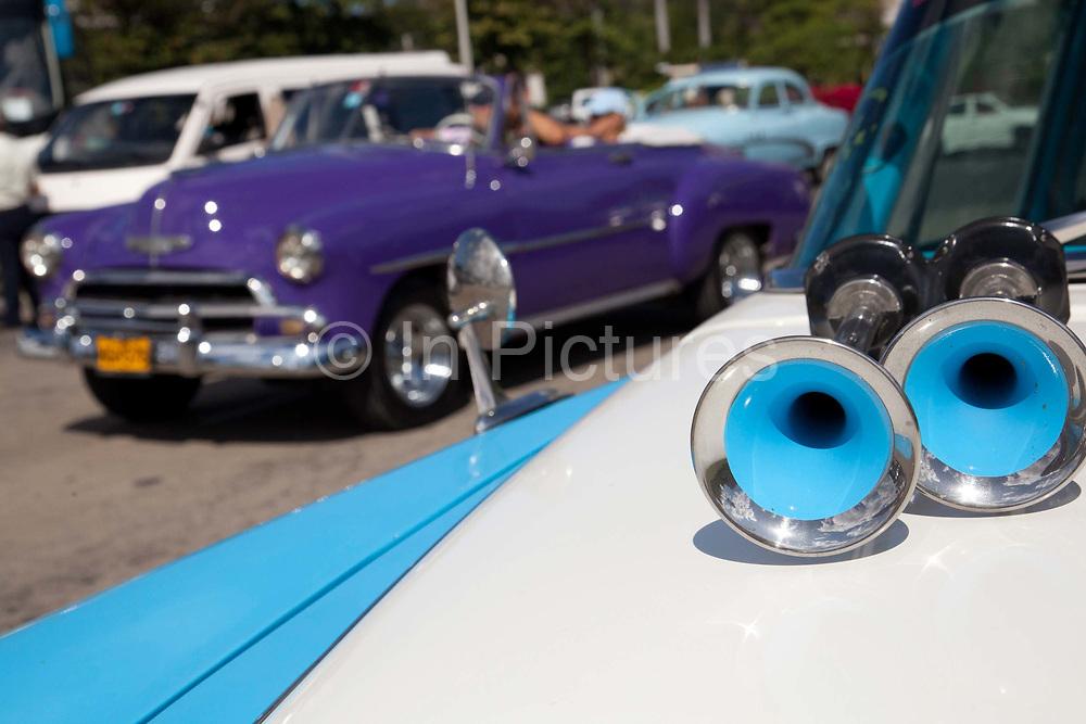 Old American cars in excellent condition, in Revolution square - Placa de la Revolution, Havana.