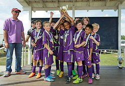 26th April, 2015. Pensacola, Florida.<br /> Gulf Coast Invitational. 6 v 6.<br /> Champions. U9 New Orleans Jesters Elites, Purple team  v TASA Raiders. Jesters emerge victorious with an 6-1 win making them joint champions following some controversial decision making by the organizers following a rained out 2nd game the previous day. <br /> Photo; Charlie Varley/varleypix.com