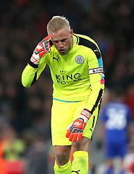 26 April 2016 London : Premier League Football : Arsenal v Leicester City :<br /> City goalkeeper and captain Kasper Schmeichel loses his temper towards the end of the match, suggesting that the referee was mad.<br /> Photo: Mark Leech