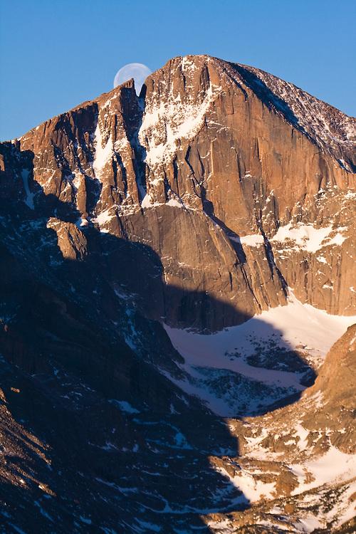 Moon over Longs Peak, Rocky Mountain National Park, Colorado.