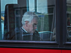 © Licensed to London News Pictures. 14/10/2015. London, UK. Labour Shadow chancellor John McDonnell rides a bus to Parliament.  Photo credit: Peter Macdiarmid/LNP