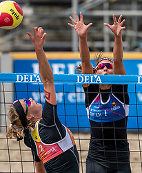 Madelein Meppelink, Katja Stam in action. The Final Day of the DELA NK Beach volleyball for men and women will be played in The Hague Beach Stadium on the beach of Scheveningen on 23 July 2020 in Zaandam.