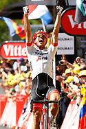 Arrival, John Degenkolb (GER - Trek - Segafredo), Greg Van Avermaet (BEL - BMC), Yves Lampaert (BEL - QuickStep - Floors) winner, during the 105th Tour de France 2018, Stage 9, Arras Citadelle - Roubaix (156,5km) on July 15th, 2018 - Photo Luca Bettini / BettiniPhoto / ProSportsImages / DPPI