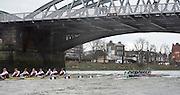 Putney, London, Pre Boat Race Fixture, Cambridge University Women's Boat Club {CUWBC} v Oxford Brookes University over the River Thames, Championship Course Putney to Mortlake, Sunday 31/01/2016. [Mandatory Credit; Intersport-images]<br /> <br /> Cambridge on Middlesex, Crew, Bow Ashton Brown, 2 Zara Goozee, 3 Alice Jackson, 4 Fiona Macklin, 5 Hannah Roberts, 6 Thea Zabell, 7 Daphne Martschenko, Stroke Myriam Goudet, Cox Rosemary Ostfeld.<br /> <br /> Oxford Brookes on Surrey, Crew, Bow, Grace Macdonald, 2, Imogen Mackie, 3, Christie Duff, 4, Emily Herridge, 5, Jess Brown, 6, Danni Shrosbree, 7, Annie Withers, Stroke, Suzie Dear, Cox, Aisling Humphries.