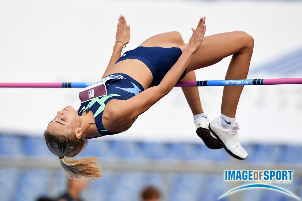 Yuliya Levchenko (UKR) wins the women's high jump at 6-6 (1.98m) during the Mennea Golden Gala at Stadio Olimpico, Thursday, Sept. 17, 2020, in Rome. (Jiro Mochizuki/Image of Sport)