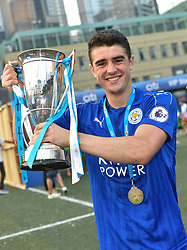 May 28, 2017 - Hong Kong, Hong Kong SAR, China - Alexandru Pascanu holds up the cup.Leicester City win their second HKFC Citi Soccer Sevens title following a 3-0 victory over defending champions Aston Villa in the final.2017 Hong Kong Soccer Sevens at the Hong Kong Football Club Causeway Bay. (Credit Image: © Jayne Russell via ZUMA Wire)