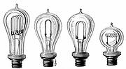 Edison's incandescent lamps showing various forms of carbon filament. From 'Les Nouvelles Conquetes de la Science, Paris,1883. Engraving.