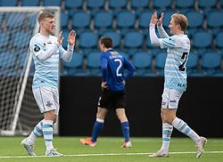 Målscorer Teddy Bergqvist (FC Helsingør) jubler med Carl Lange efter scoringen til 3-1 under træningskampen mellem FC Helsingør og HB Køge den 22. februar 2020 på Helsingør Ny Stadion (Foto: Claus Birch).