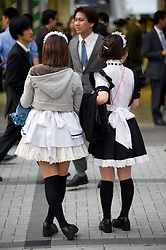 Young Japanese girls dressed as maids handing out advertising flyers for new craze of Maids Cafes where customers are served by maids in Akihabara Tokyo