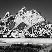 Full Moon and the Grand Teton in Winter.