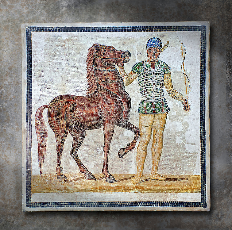 Roman geometric floor mosaic depicting horsemen and their horses from the Circus Maximus Rome  from  a room of a villa  in the locality Baccano near the Via Cassia, Rome. Beginning of the 3rd century AD. National Roman Museum, Rome, Italy.  Wall art print by Photographer Paul E Williams If you prefer visit our World Gallery Print Shop To buy a selection of our prints and framed prints desptached  with a 30-day money-back guarantee and is dispatched from 16 high quality photo art printers based around the world. ( not all photos in this archive are available in this shop) https://funkystock.photoshelter.com/p/world-print-gallery .<br /> <br /> USEFUL LINKS:<br /> Visit our other HISTORIC AND ANCIENT ART COLLECTIONS for more photos to buy as wall art prints  https://funkystock.photoshelter.com/gallery-collection/Ancient-Historic-Art-Photo-Wall-Art-Prints-by-Photographer-Paul-E-Williams/C00002uapXzaCx7Y