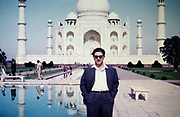 Western male men tourist at the Taj Mahal site, Agra, India in 1964