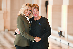 French President's wife Brigitte Macron welcomes Cyprus' President wife Andri Anastasiadis as they take part in a spousal event at the Chateau de Versailles in Versailles, near Paris, on November 11, 2018 as part of commemorations marking the 100th anniversary of the 11 November 1918 armistice, ending World War I. Photo By Laurent Zabulon/ABACAPRESS.COM