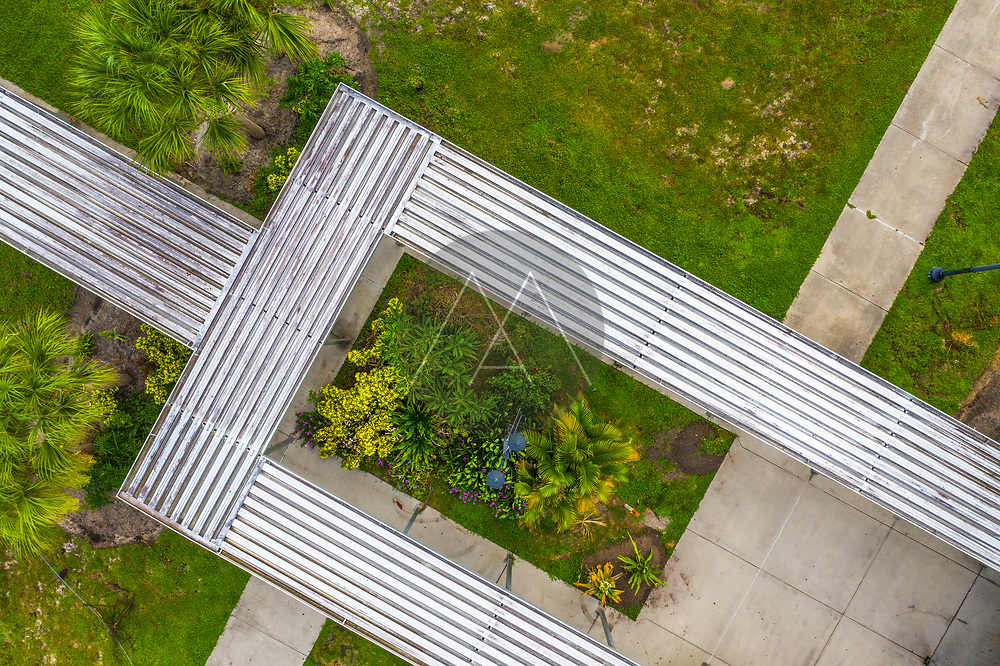 Aerial view of a garden at Sebastian river high school Florida, United States.