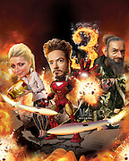 Caricature: Robert Downey Jr., returns as magnate superhero Tony Stark, with Gwyneth Paltrow, as Pepper Pots, to face his nemesis the Mandarin, played by Ben Kingsley. Originally Created for Penthouse Movie Review.