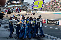 October 7, 2018 - Dover, DE, U.S. - DOVER, DE - OCTOBER 07: Chase Elliott's crew celebrates after Chase Elliott drove the #9 NAPA Auto Parts Chevrolet to the win in the Gander Outdoors 400 on October 07, 2018, at Dover International Speedway in Dover, DE. (Photo by David Hahn/Icon Sportswire) (Credit Image: © David Hahn/Icon SMI via ZUMA Press)