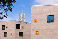 building of the school campus Bildungslandschaft Altstadt Nord (BAN) near the Klingelpuetz park, architect Gernot Schulz, in the background the CologneTower in the Mediapark, Cologne, Germany.<br /> <br /> Gebaeude des Schulcampus Bildungslandschaft Altstadt Nord (BAN) am Klingelpuetzpark, Architekt Gernot Schulz, im Hintergrund der KoelnTurm im Mediapark, Koeln, Deutschland.