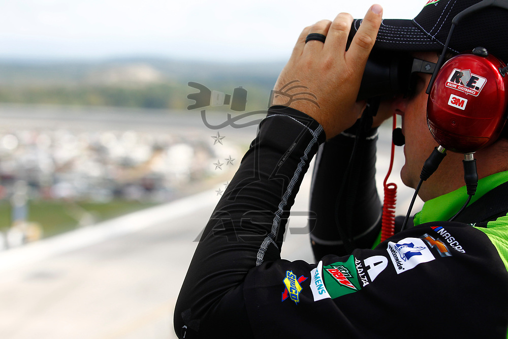 October 15, 2017 - Talladega, Alabama, USA: Spotters help their drivers get through traffic during the Alabama 500 at Talladega Superspeedway in Talladega, Alabama.