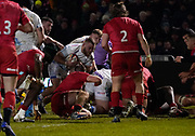 Sale Sharks Akker Van der Merwe drives over the Saracens  try line to score during a Premiership Rugby Cup Semi Final  won by Sale 28-7, Friday, Feb. 7, 2020, in Eccles, United Kingdom. (Steve Flynn/Image of Sport)