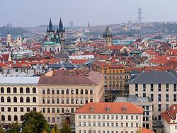 Ariel view of Stare Mesto district in Prague in Czech Republic