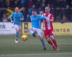 Forfar Athletic's Dale Hilson and East Fife's Scott Linton. Forfar Athletic 3 v 0 East Fife, Scottish Football League Division One game played 2/3/2019 at Forfar Athletic's home ground, Station Park, Forfar.