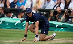 LONDON, ENGLAND - Thursday, July 11, 2019: A ball boy during the Ladies' Singles semi-final match on Day Ten of The Championships Wimbledon 2019 at the All England Lawn Tennis and Croquet Club. (Pic by Kirsten Holst/Propaganda)
