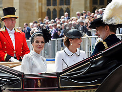 Queen Letizia of Spain, Catherine, Duchess of Cambridge attends Order of the Garter service at St George's Chapel on June 17, 2019 in Windsor, United Kingdom. Photo by Archie Andrews/ABACAPRESS.COM