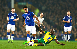 Sebastien Bassong of Norwich City tackles Everton's Tyias Browning  - Mandatory byline: Matt McNulty/JMP - 07966 386802 - 27/10/2015 - FOOTBALL - Goodison Park - Liverpool, England - Everton v Norwich City - Capital One Cup