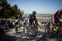 Lauren Kitchen (AUS) of Hitec Products Cycling Team rides the Mur de Huy in the first lap of the Flèche Wallonne Femmes - a 137km road race from starting and finishing in Huy on April 20, 2016 in Liege, Belgium.