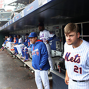 NEW YORK, NEW YORK - MAY 04:  Lucas Duda #21 of the New York Mets in the dugout watching play as he prepares to bat during the Atlanta Braves Vs New York Mets MLB regular season game at Citi Field on May 04, 2016 in New York City. (Photo by Tim Clayton/Corbis via Getty Images)