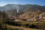 Smoke bellows across the valley from the chimney of a brick kiln on the 11th of March 2020 in the Dakshinkali area, Kathmandu District, Bagmati Pradesh, Nepal. Traditional brick kilns continue to pollute air, take life and cause huge financial loss to Nepal. (photo by Andrew Aitchison / In pictures via Getty Images)