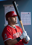 The Angels' Albert Pujols prepares to hit against the Dodgers during their Freeway Series game Friday night at Dodger Stadium.<br /> <br /> <br /> ///ADDITIONAL INFO:   <br /> <br /> freeway.0402.kjs  ---  Photo by KEVIN SULLIVAN / Orange County Register  --  4/1/16<br /> <br /> The Los Angeles Angels take on the Los Angeles Dodgers at Dodger Stadium during the Freeway Series Friday.<br /> <br /> <br />  4/1/16
