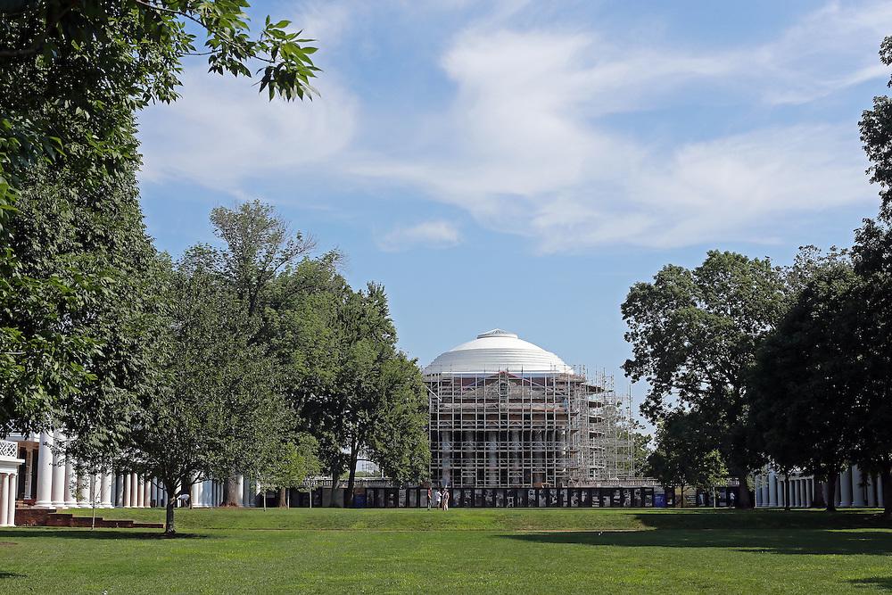 The Rotunda under construction at the University of Virginia in Charlottesville, VA. Photo/Andrew Shurtleff