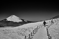 Snowy trail to Mt Komagatake. Fuji Hakone Izy National Park. Image taken with a  Fuji X-T1 camera and 35 mm f/1.4 lens.