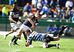 Cape Town-180929-Curwin Bosch of the Cell C Sharks tackled  by SP Marais of the  Western Province rugby team in a Currie cup Clash at Newlands Stadium  .Photographs:Phando Jikelo/African News Agency/ANA