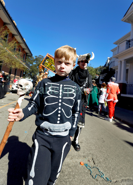 09 February 2016. New Orleans, Louisiana.<br /> Mardi Gras Day. Brody in the French Quarter.<br /> Photo©; Charlie Varley/varleypix.com