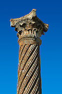 Tiwsted Corintian Roman column and capital. Volubilis Archaeological Site, near Meknes, Morocco .<br /> <br /> Visit our MOROCCO HISTORIC PLAXES PHOTO COLLECTIONS for more   photos  to download or buy as prints https://funkystock.photoshelter.com/gallery-collection/Morocco-Pictures-Photos-and-Images/C0000ds6t1_cvhPo<br /> .<br /> <br /> Visit our ROMAN ART & HISTORIC SITES PHOTO COLLECTIONS for more photos to download or buy as wall art prints https://funkystock.photoshelter.com/gallery-collection/The-Romans-Art-Artefacts-Antiquities-Historic-Sites-Pictures-Images/C0000r2uLJJo9_s0