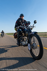 Andrea Labarbara of Foxboro, MA riding her 1913 Henderson. (Her other transportation is made by Airbus!) Motorcycle Cannonball coast to coast vintage run. Stage 9 (294 miles) from Pierre to Sturgis, SD. Sunday September 16, 2018. Photography ©2018 Michael Lichter.