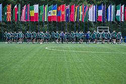 27.09.2012, Fluntern, Zuerich, SUI, FIFA World Cup 2014, Schiedsrichter Seminar, im Bild Massimo Busacca (Blau), Leiter der FIFA Schiedsrichter Abteilung, mit den Schiedsrichtern beim Aufwaermen // during a Trainingssession at the Referees Seminar for the 2014 FIFA World Cup, Fluntern, Zuerich, Switzerland on 2012/09/27. EXPA Pictures © 2012, PhotoCredit: EXPA/ Freshfocus/ Andy Mueller..***** ATTENTION - for AUT, SLO, CRO, SRB, BIH only *****