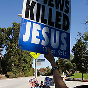Members of the Westboro Baptist Church demonstrate in Los Angeles. Picketing Hillel Council at UCLA