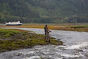 Fly fishing for steelhead trout, Sitka, Alaska