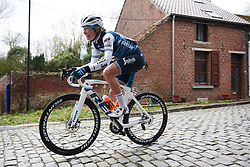 Tayler Wiles (USA) roars across the cobbles at Le Samyn des Dames 2019, a 101 km road race from Quaregnon to Dour, Belgium on March 5, 2019. Photo by Sean Robinson/velofocus.com